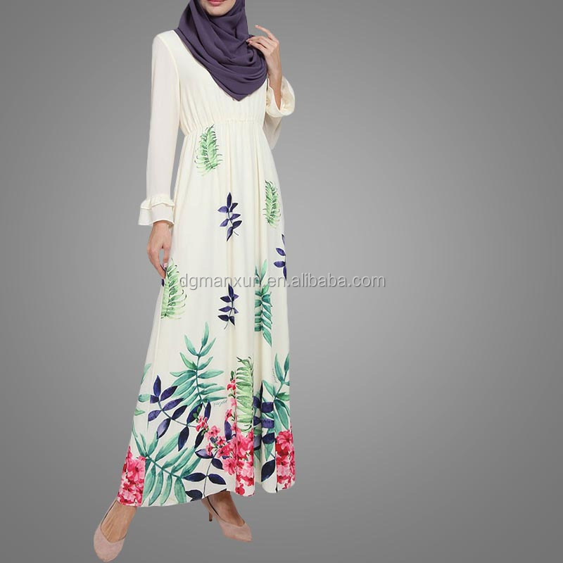 Hot sale asian clothing women printed jubah muslimah malaysia flare sleeves dress for ladies (2).jpg