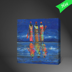 DaFen Handmade Abstract African Women Painting Mural Picture on Canvas