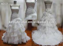 Hot sale !!2013 lace&beading organza fishtail skirt lace up back wedding dress2013