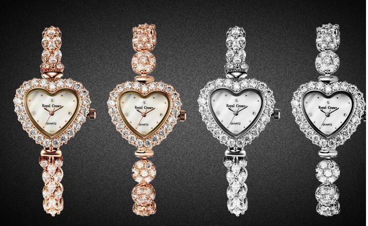 Сердце Shell Леди женские Часы Япония Кварцевые Часы Моды Платье Браслет Роскошные Стразы Bling CZ Девушка Подарок На День Рождения Ящик