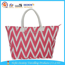 China Manufacturer fashion printing canvas beach handbag
