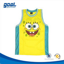 Unique design youth light weight mesh fabric basketball tops