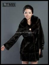 2015 europe design women natural mink fur coat adjust belt from China