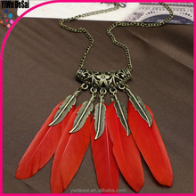 restoring ancient ways Popular personality gold leaf feather necklace sweater chain