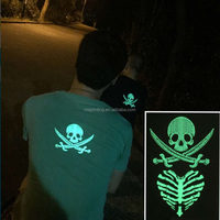 Wholesale skeleton glow in the dark tattoo sticker on clothes