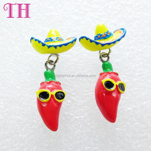 factory wholesale resin different colors strawhat N chili shape christmas dangle ladies earrings designs pictures
