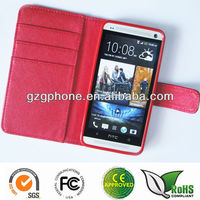 Hot sale leather flip cover for HTC one m7 case