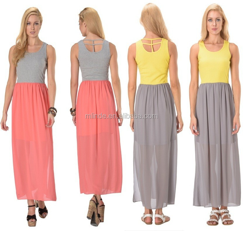 trendy long dress sleeveless knit chiffon simple dress