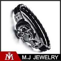 braided black leather bracelet stainless steel clasp men skull