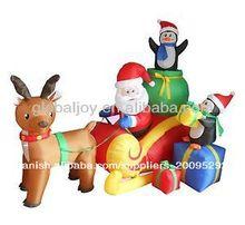 Inflable santa en trineo con renos/santa claus
