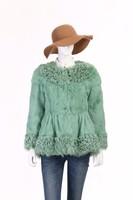 QC2395 full pelt rabbit fur jackets with lamb fur trim