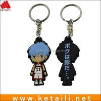 Custom design silicone rubber anime keychain / anime keyring