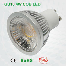 CE SAA approval high brightness COB 4w gu10 led spotlight 120 degree beam angle