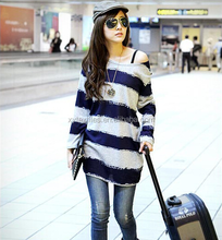 2015 Spring Autunm loose article wide blue + gray T-shirt