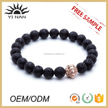New Products 2016 Rose Gold Head of Lion With Lavastone Charm Bracelet