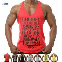 2015 wholesale 100% cotton custom logo printed mens Gym muscle singlet
