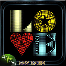 Popular Hotfix Rhinestone Motif Love Design