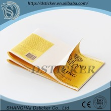 Art paper/pp/custom roll mirror coated sticker paper,texture and hot stamping wine label,holographic label