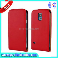 China Manufacture Top opening Sewing Real Leather Case for Samsung S5, for S5 Leather Case with Magnet Buckle