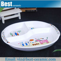 decal printing divided white ceramic dessert plate