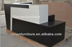 Modern white and black acrylic solid surface built dental office reception desk
