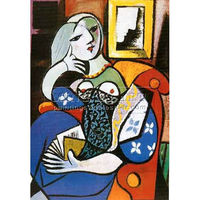 100% Handmade Pablo Picasso abstract painting Oil on Canvas, Woman with a Book