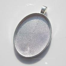 22x30mm Silver Blank Pendant Setting, Oval Bezel Pendant Tray, Silver Pendant Blanks for Cabochons