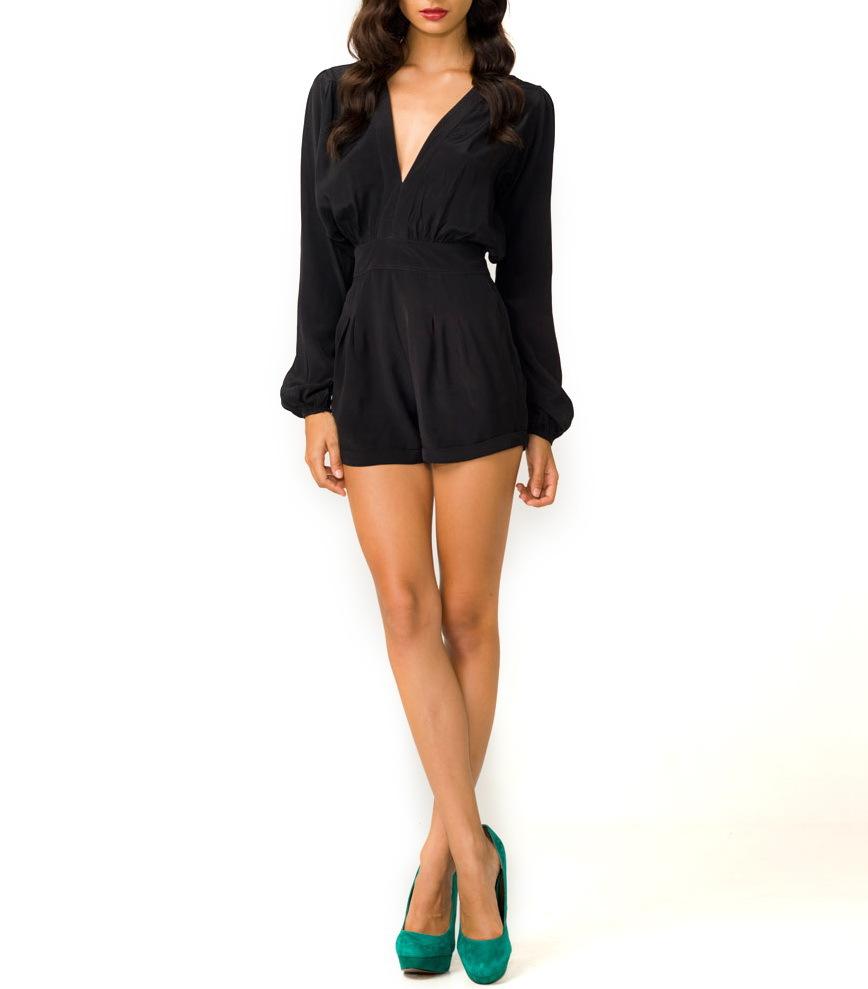 Aangepaste Ontwerp Elegante Vrouw Korte Jumpsuit Playsuit Zwart Lange Mouw Jumpsuit Rayon-broek ...