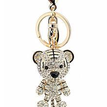 Top grade high quality creative gift crystal little bear alloy metal crystal animal keychains
