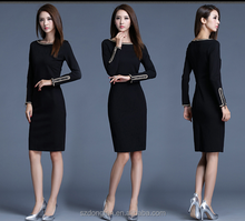 Hot New Women Clothing, Fashion Plain Dyed Innovative Long Sleeve Dress With Zipper, Casual Bodycon Ladies Dress