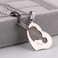 Lovers heart arrow love stainless steel Pendants Necklaces