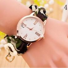Lady Geneva Golden Tone Case Countryside Rose Cloth Band Wrist Watch
