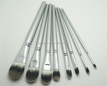 Silver Custom Artist Paint Brush Set Synthetic Foundation Makeup Brushes