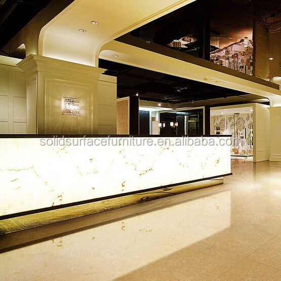 Luxury Illuminated Hotel Modern Reception Counter Design