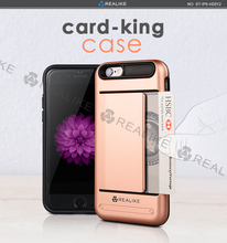 Multi-storage card paper money precise camera hole pc tpu combination custom phone case for i phone6 cases and covers