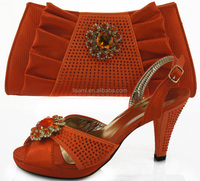 CSB528 ORANGE 2014 fashion hot selling italy woman shoes match bag wedge shoes for wedding and party