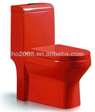 Bathroom Red Ceramic One piece Toilet