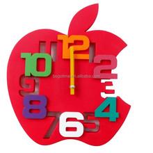Red Apple Decoration 3D wall clock, School wall clock