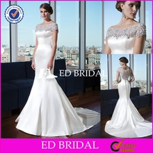 Hot Sale Cap Sleeve Satin Wedding Dress Pearl Beading Mermaid Bridal Gown