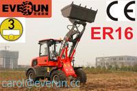 EVERUN Brand ER16 Radlader, 1600kg loading capaity CE Wheel Loader, with Euro 3 Engine