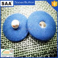 blue color fabric press stud button