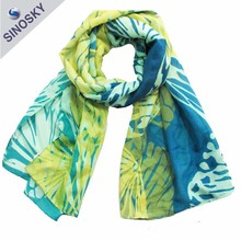 Fashion Latest Design Emerald 100 Plain Polyester Scarf for Lady