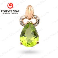 2015 Alibaba Express Jewelry with Peridot Stone 14 carat gold jewelry models