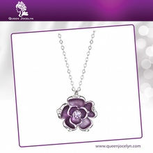 Fashion Colorful Solid Purple Flower Necklace Jewelry with Crystal