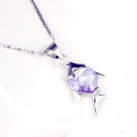 2015 High Quality Fash Shape 925 Silver Shining Crystal gold Animal Pendant Necklace