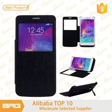 Super Thin battery Leather Flip Cover Case for Samsung Note 4 with stand