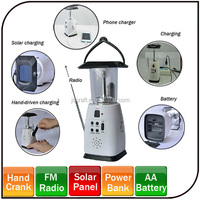 2014 New Style Power by Hand Crank Mobile Charger function Rechargeable LED Solar Lantern dynamo solar radio