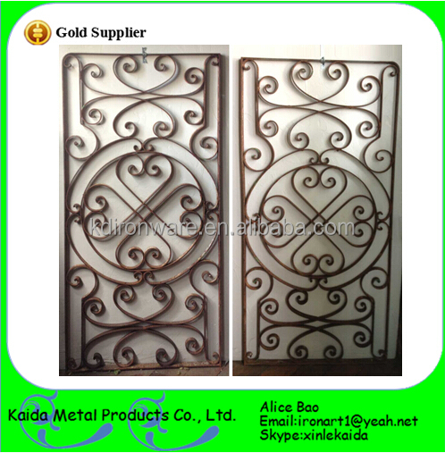 French Simple Single Wrought Iron Door Grill For External