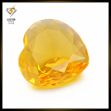 wholesale heart shape yellow synthetic glass gem price