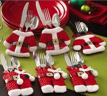 Briloom X'mas Santa Silverware Holders Pockets Dinner Christmas Decorations